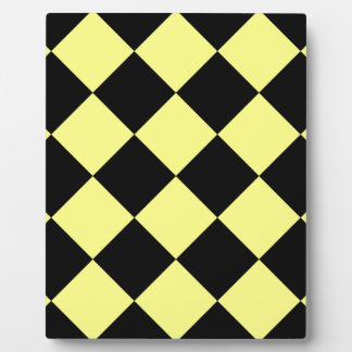 Diag Checkered Large - Black and Yellow Plaque