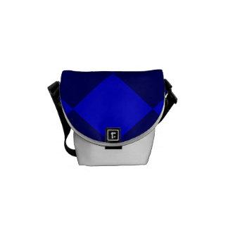 Diag Checkered Large - Blue and Dark Blue Messenger Bag