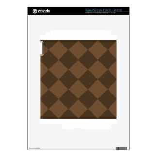 Diag Checkered Large - Brown and Dark Brown iPad 3 Skins