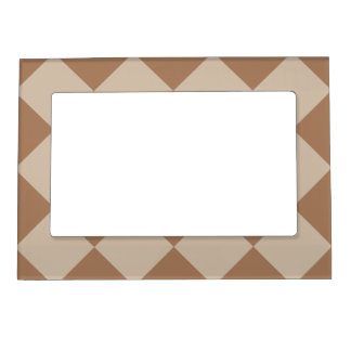 Diag Checkered Large - Brown and Light Brown Magnetic Picture Frame