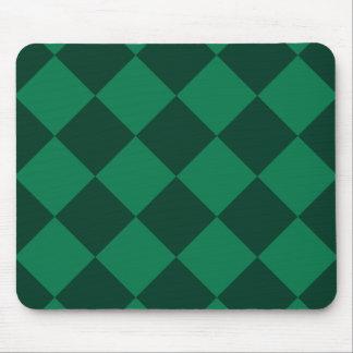 Diag Checkered Large - Green and Dark Green Mouse Pad