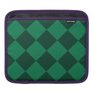 Diag Checkered Large - Green and Dark Green Sleeve For iPads