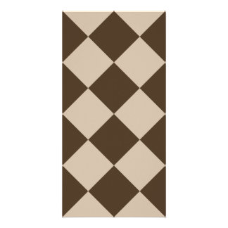 Diag Checkered Large - Light Brown and Dark Brown Card