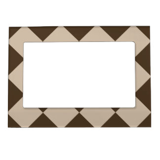 Diag Checkered Large - Light Brown and Dark Brown Magnetic Frame