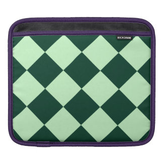 Diag Checkered Large - Light Green and Dark Green iPad Sleeve