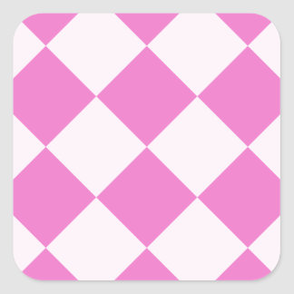Diag Checkered Large - Light Pink and Dark Pink Square Sticker