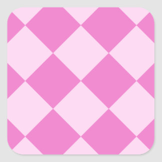 Diag Checkered Large - Pink and Dark Pink Square Sticker