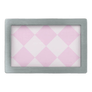 Diag Checkered Large - Pink and Light Pink Rectangular Belt Buckle