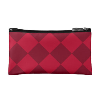 Diag Checkered Large - Red and Dark Red Cosmetic Bag