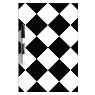 Diag Checkered Large - White and Black Dry Erase Board
