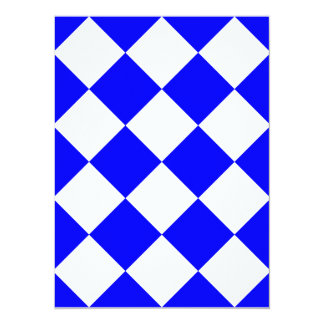 Diag Checkered Large - White and Blue 5.5x7.5 Paper Invitation Card