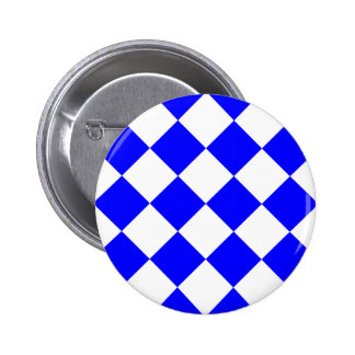 Diag Checkered Large - White and Blue Pinback Button