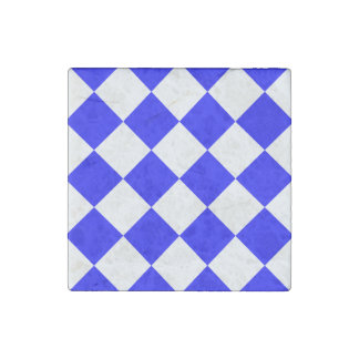 Diag Checkered Large - White and Blue Stone Magnet