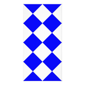 Diag Checkered Large - White and Blue Photo Card