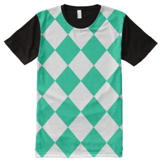Diag Checkered Large - White and Caribbean Green All-Over Print Shirt