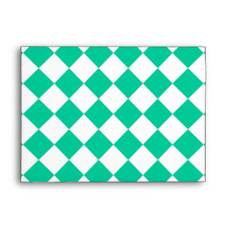 Diag Checkered Large - White and Caribbean Green Envelope