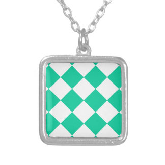 Diag Checkered Large - White and Caribbean Green Silver Plated Necklace
