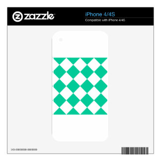 Diag Checkered Large - White and Caribbean Green Decals For The iPhone 4