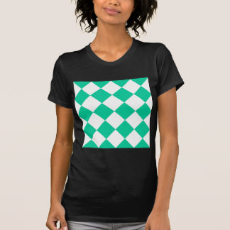 Diag Checkered Large - White and Caribbean Green T-Shirt
