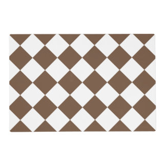 Diag Checkered Large - White and Coffee Placemat