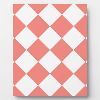 Diag Checkered Large - White and Coral Pink Plaque