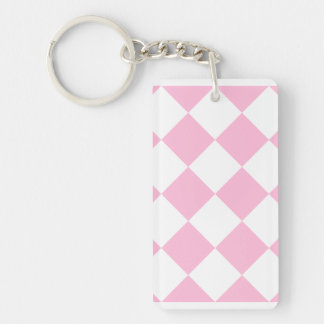 Diag Checkered Large - White and Cotton Candy Keychain