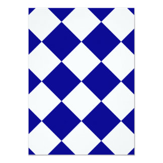 "Diag Checkered Large - White and Dark Blue 4.5"" X 6.25"" Invitation Card"