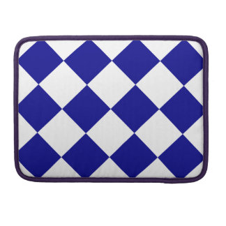 Diag Checkered Large - White and Dark Blue Sleeve For MacBooks