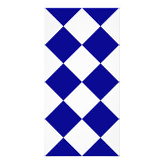 Diag Checkered Large - White and Dark Blue Photo Card