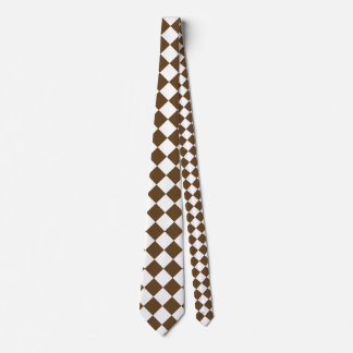 Diag Checkered Large - White and Dark Brown Tie