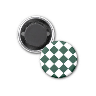 Diag Checkered Large - White and Dark Green 1 Inch Round Magnet