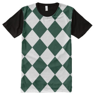Diag Checkered Large - White and Dark Green All-Over Print T-shirt