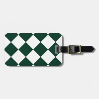 Diag Checkered Large - White and Dark Green Luggage Tag