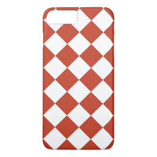 Diag Checkered Large - White and Dark Pastel Red iPhone 7 Plus Case
