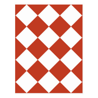 Diag Checkered Large - White and Dark Pastel Red Postcard
