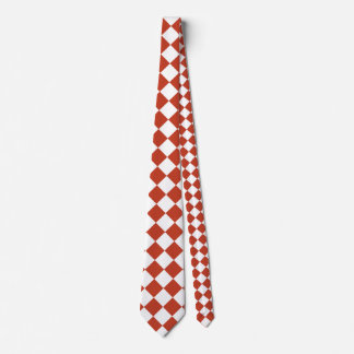 Diag Checkered Large - White and Dark Pastel Red Tie