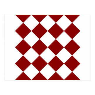 Diag Checkered Large - White and Dark Red Postcard