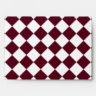 Diag Checkered Large - White and Dark Scarlet Envelope
