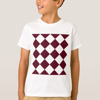 Diag Checkered Large - White and Dark Scarlet T-Shirt