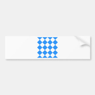Diag Checkered Large - White and Dodger Blue Bumper Sticker