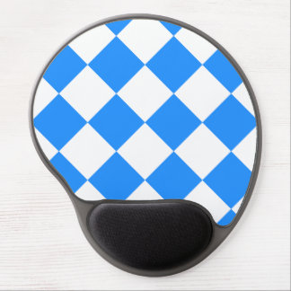 Diag Checkered Large - White and Dodger Blue Gel Mouse Pad