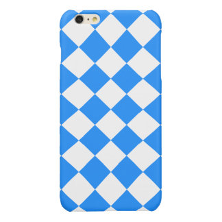 Diag Checkered Large - White and Dodger Blue Glossy iPhone 6 Plus Case