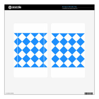 Diag Checkered Large - White and Dodger Blue Kindle Fire Decal