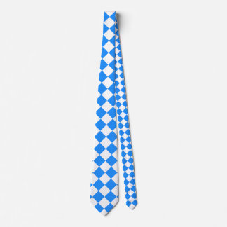 Diag Checkered Large - White and Dodger Blue Neck Tie