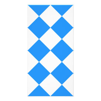 Diag Checkered Large - White and Dodger Blue Photo Card