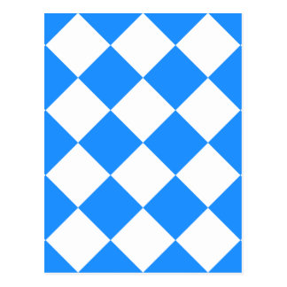 Diag Checkered Large - White and Dodger Blue Postcard