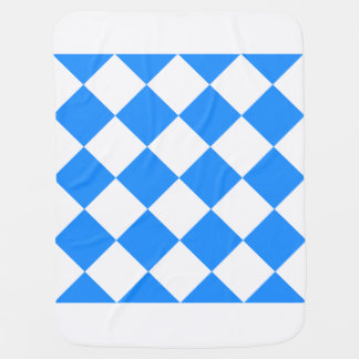 Diag Checkered Large - White and Dodger Blue Receiving Blanket
