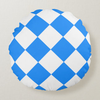 Diag Checkered Large - White and Dodger Blue Round Pillow