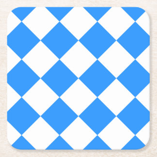 Diag Checkered Large - White and Dodger Blue Square Paper Coaster