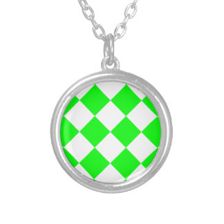 Diag Checkered Large - White and Electric Green Silver Plated Necklace